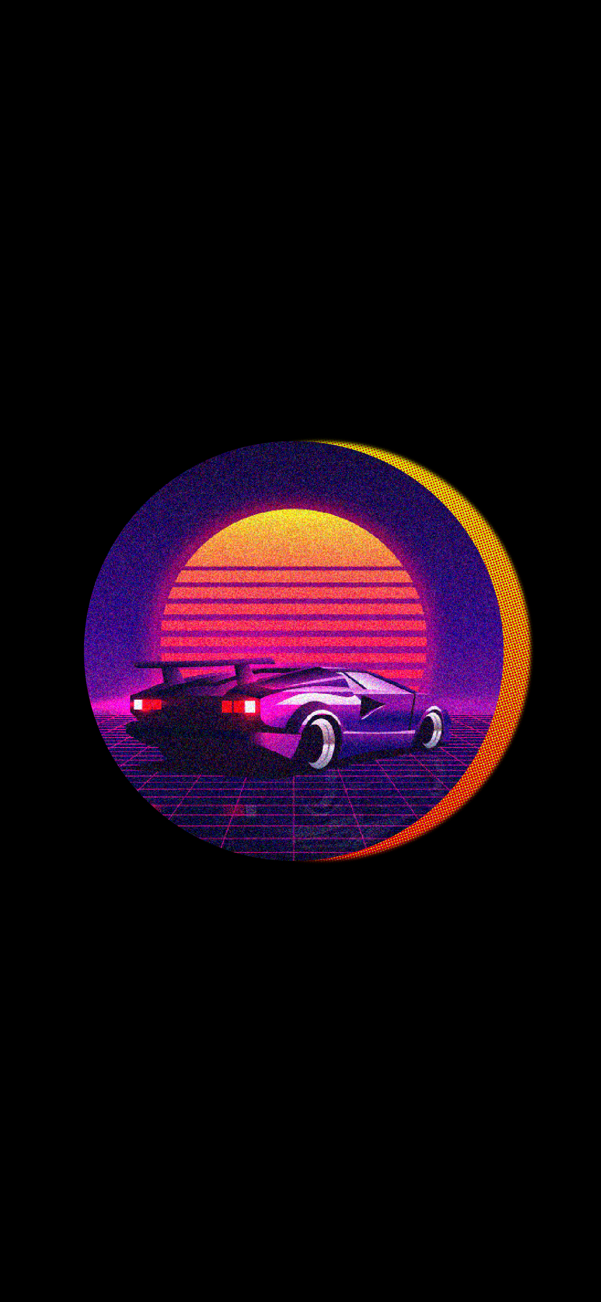 synthwave car retro style