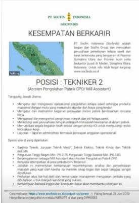 Lowongan Kerja PT Socfin Indonesia Bulan Juni 2020