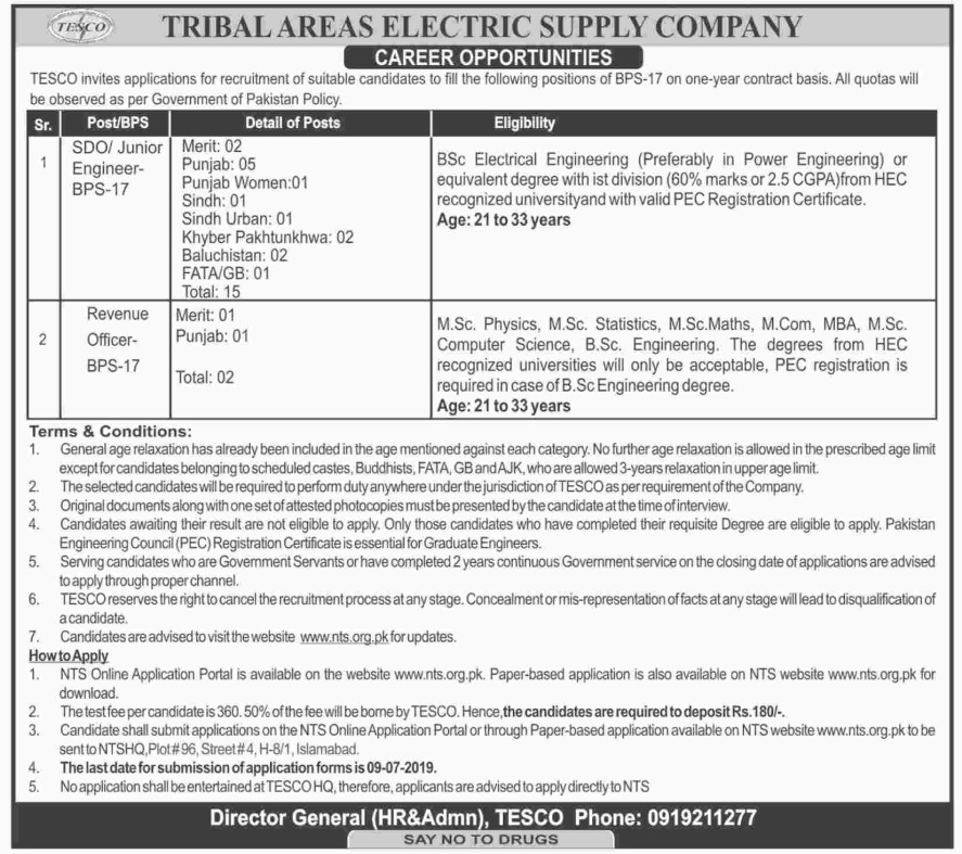 Tribal Areas Electric Supply Company Jobs for SDO/Junior Engineer & Revenue Officer 2019