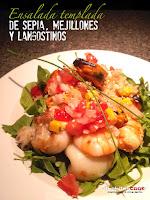 Ensalada templada de sepia, mejillones y langostinos