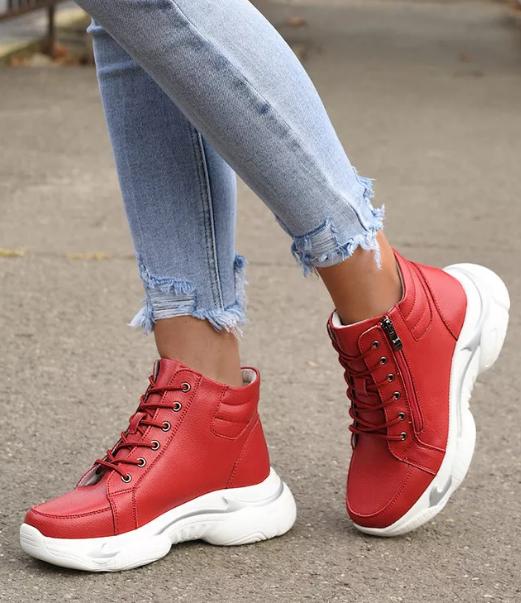 Sneakersi rosii dama de iarna inalti din piele naturala