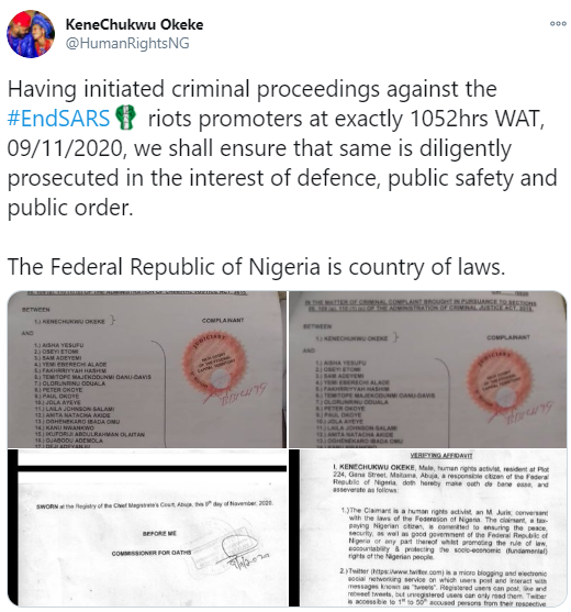 Davido, Falz, 2face Idibia, Burna Boy and 46 others drag to court for participating in EndSARS protest