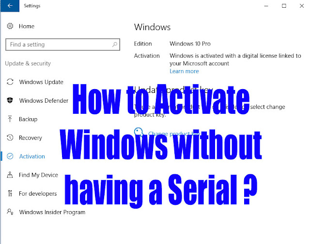 How to activate Windows 10 without Serial Number