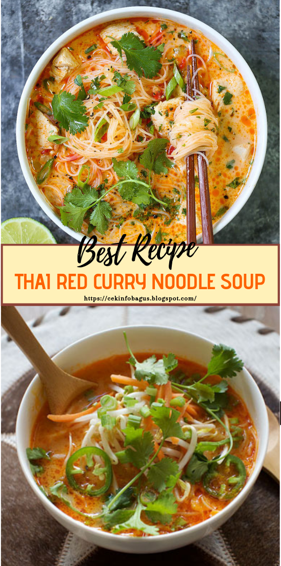 THAI RED CURRY NOODLE SOUP #vegan #vegetarian #soup #breakfast #lunch