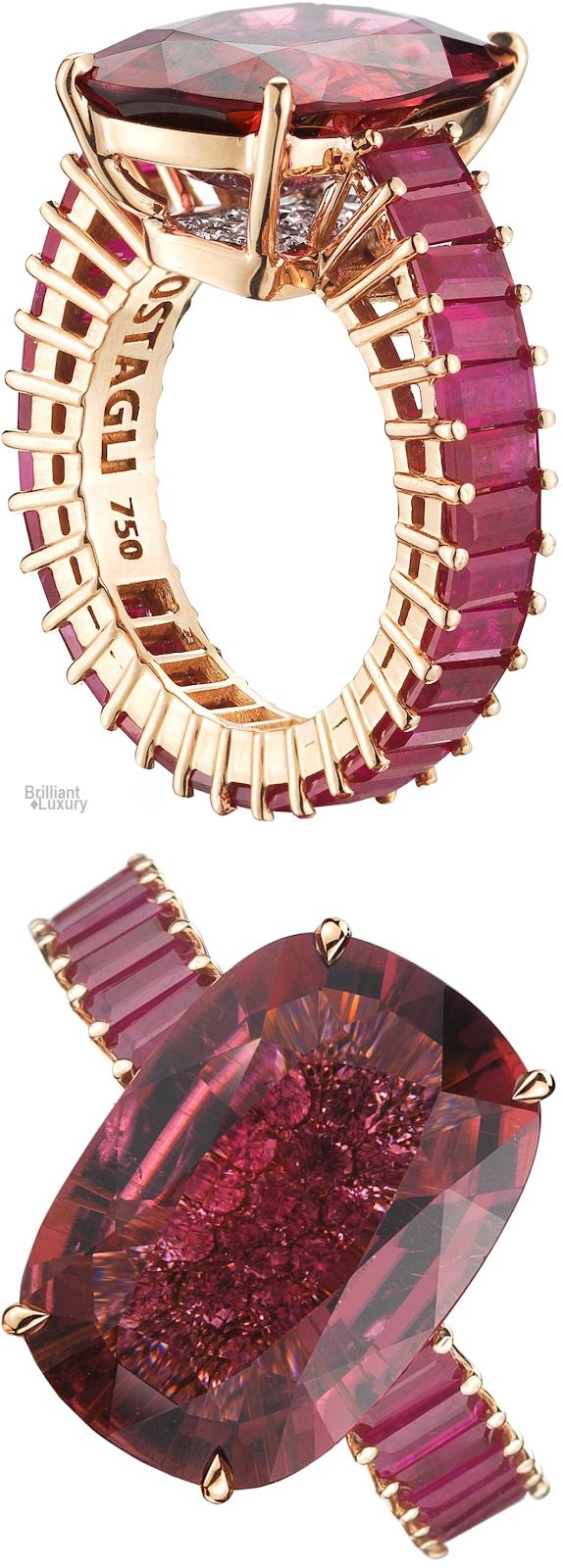 Brilliant Luxury♦Paolo Costagli 18ct Rose Gold Cushion-Cut Rubellite Tourmaline Eternita Ring ~ Rubellite tourmaline 10,19 ct, Rubies 5,53 ct and Diamonds 0.34 ct