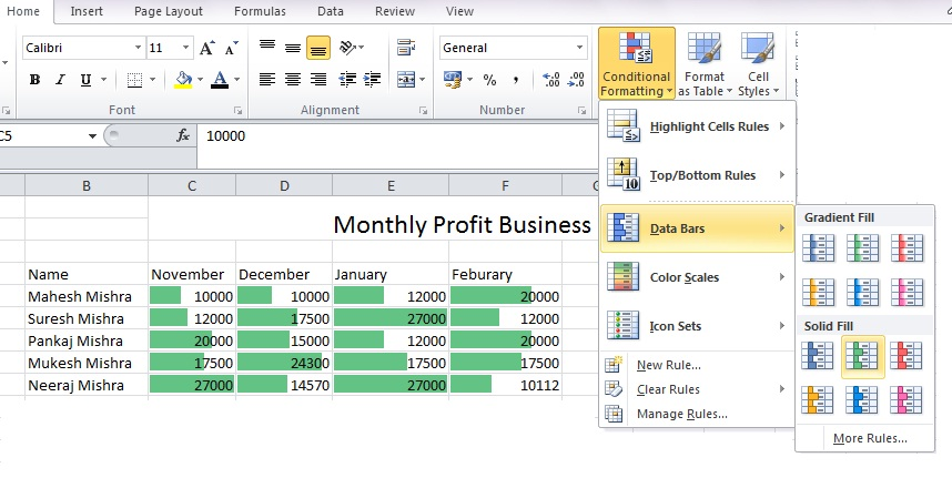 Data bars first we discuss about are horizontal added to each cell much like  bar graph also how use conditional formatting based on another mad rh madaboutcomputer