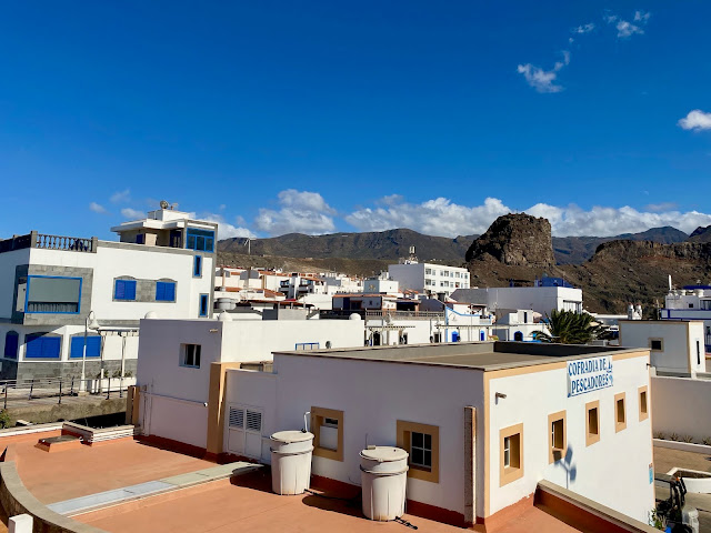 Blue and white houses by the port of Agaete, Gran Canaria, Spain