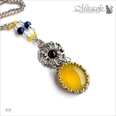 Miracolo, onyks żółty, granat, filigran, sodalit, jadeit żółty, jellow onyx pendant