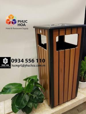 thùng rác gỗ tự nhiên