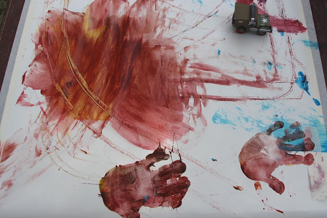 Hand prints on paper