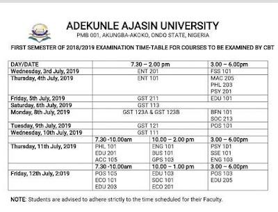 AAUA Final CBT Examination Time-Table 1st Semester 2018/2019