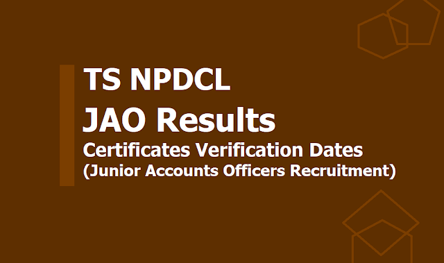 TS NPDCL JAO Results, Certificates verification dates 2019 (Junior Accounts Officers)