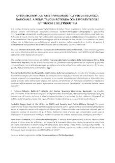 CYBER SECURITY, UN ASSET FONDAMENTALE PER LA SICUREZZA NAZIONALE. A ROMA TAVOLA ROTONDA CON ESPONENTI DELLE ISTITUZIONI E DELL'INDUSTRIA