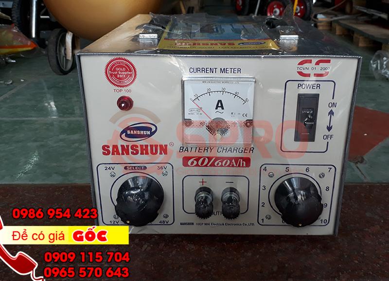 Máy sạc bình ắc quy, máy nạp bình điện ắc quy xe máy, ô tô SANSHUN 60A