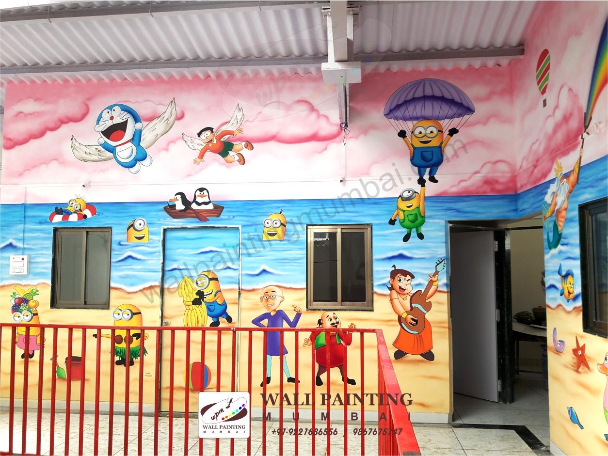 Playschool wall painting mumbai for Room decor ulhasnagar