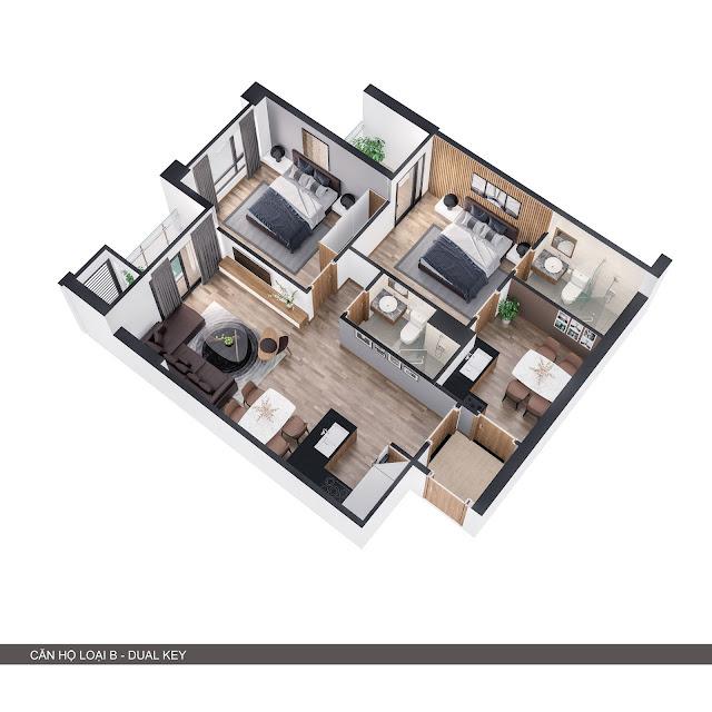 Phối cảnh 3D căn hộ loại B 2 trong 1 có 3 phòng ngủ + 2 bếp