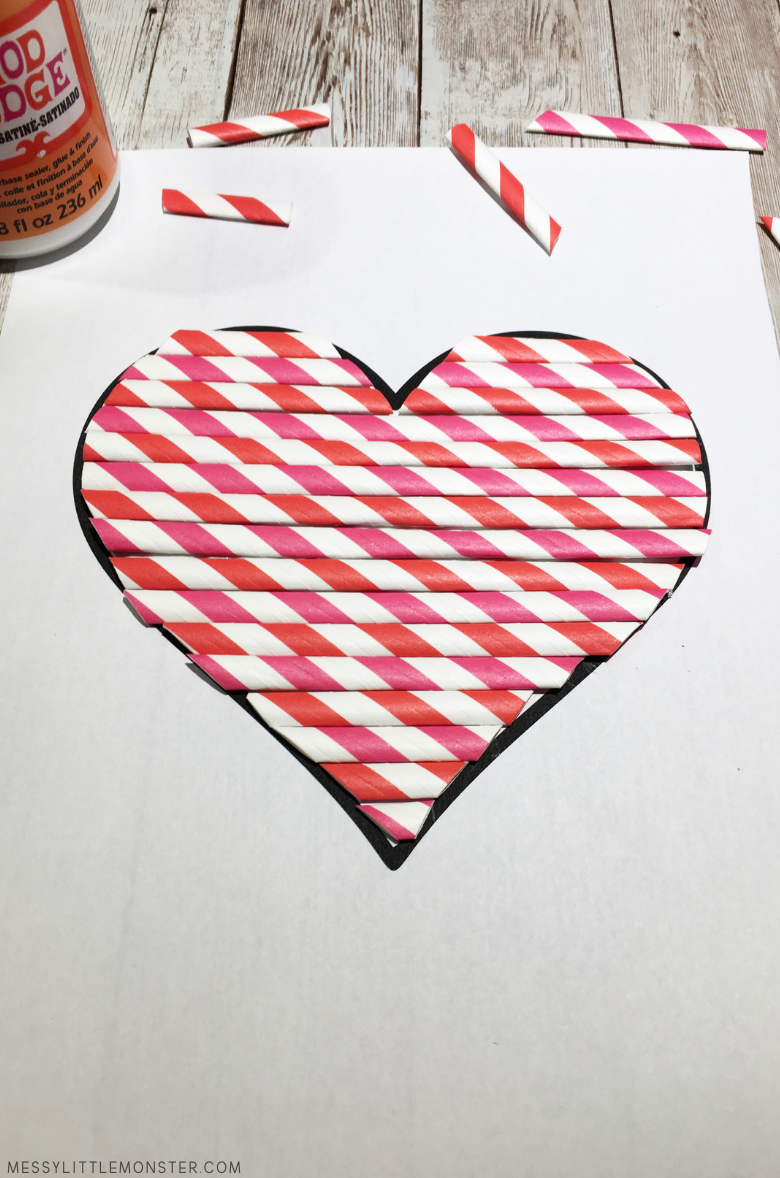 easy heart craft made from paper straws