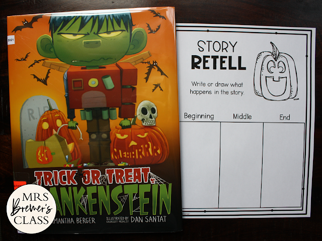 Trick or Treat Crankenstein book activities unit with Common Core aligned literacy companion activities, class book, & craftivity K-1