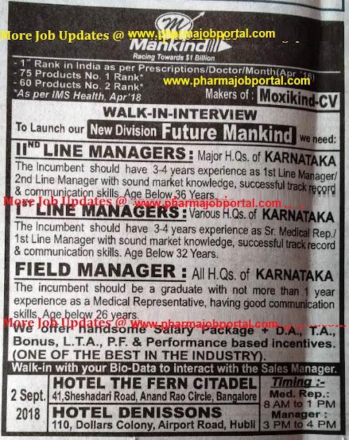 Mankind Pharma  Walk In Interviews at 2  Sep.