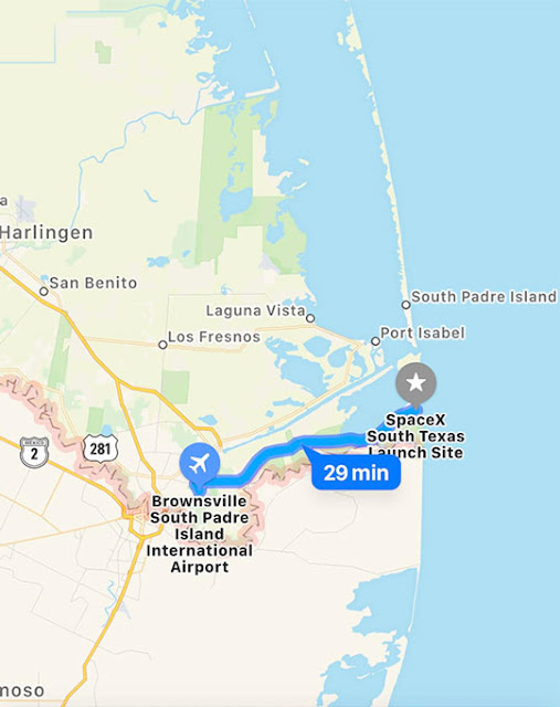 SpaceX Launch Site is short 30 minute drive from Brownsville, TX (Source: Palmia Observatory)