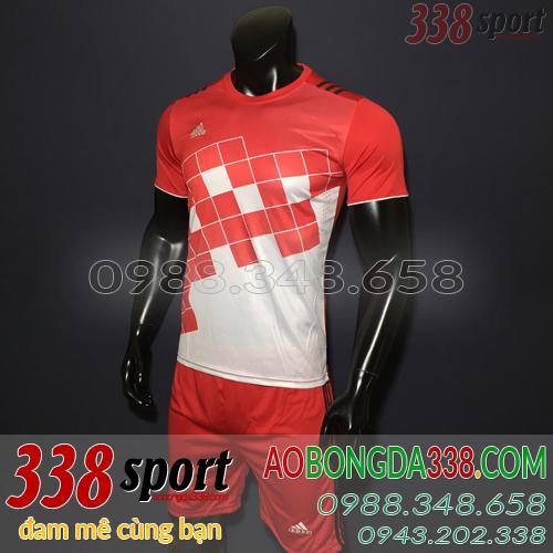 áo bóng đá không logo adidas caro đỏ