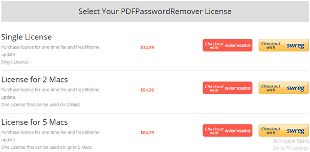 Cisdem PDFPasswordRemover Pricing