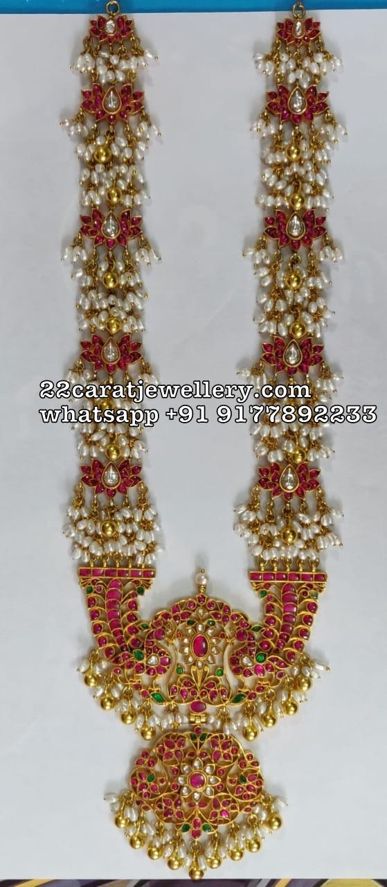 Rice Pearls Kundan Haram in 925Silver