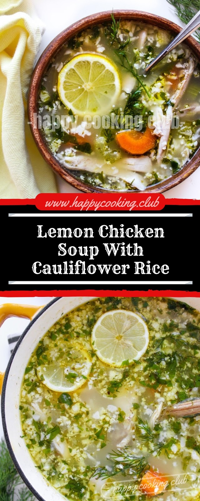 Lemon Chicken Soup With Cauliflower Rice
