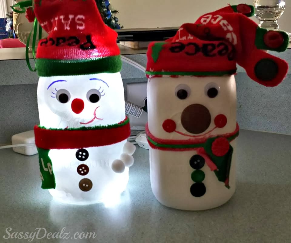 Diy Snowman Mason Jar Craft For Kids Light Decoration