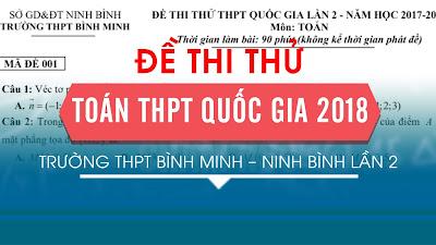 Đề thi thử THPT Quốc gia 2018 môn Toán trường THPT Bình Minh – Ninh Bình lần 2