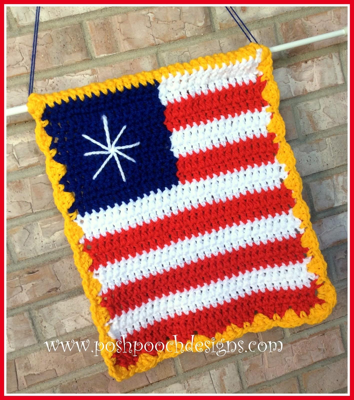Posh Pooch Designs Dog Clothes: American Flag Garden Sign Crochet ...