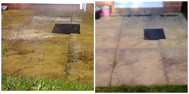 Before and after shots of patio cleaning.