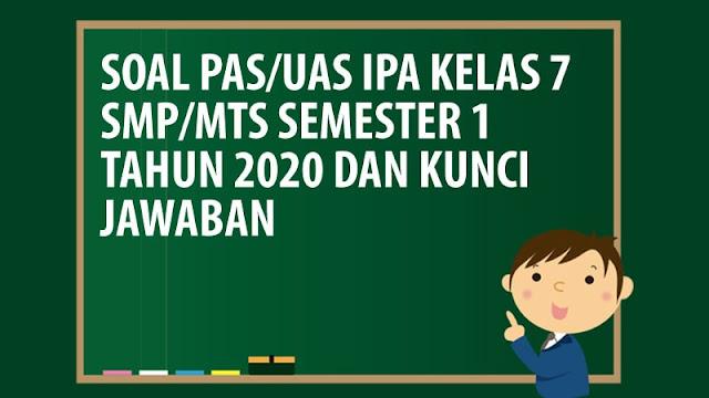 Soal PAS/UAS IPA Kelas 7 SMP/MTS Semester 1 Tahun 2020