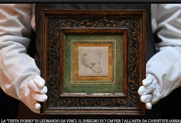 """Per cifre da record, all'asta raro disegno di Leonardo, si tratta della """"Testa di orso"""""""