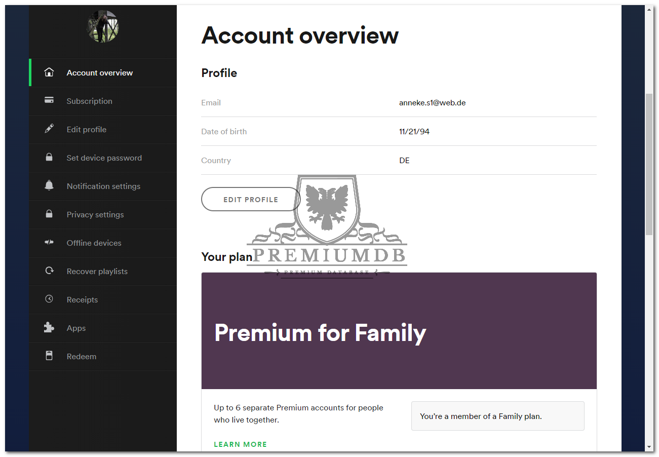 x156 Spotify.com Premium for Family, Subscription Accounts Email and Password September 18, 2019
