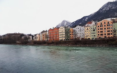 The colourful river side in old town Innsbruck Austria