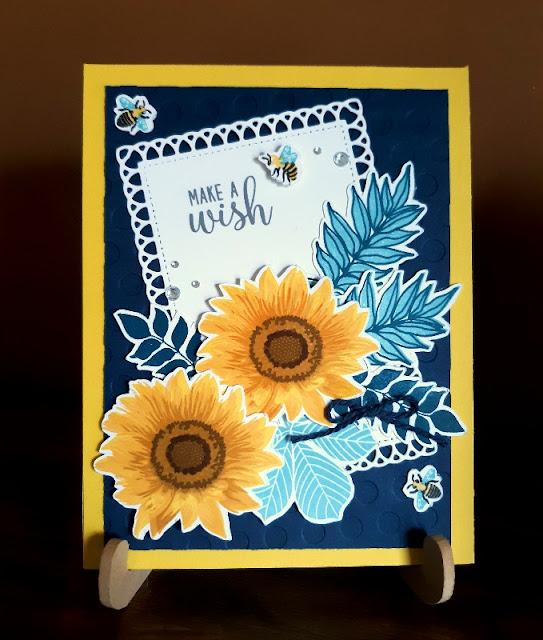 Sunny Studio Stamps: Sunflower Fields Elegant Leaves Customer Card by Christine Kesler