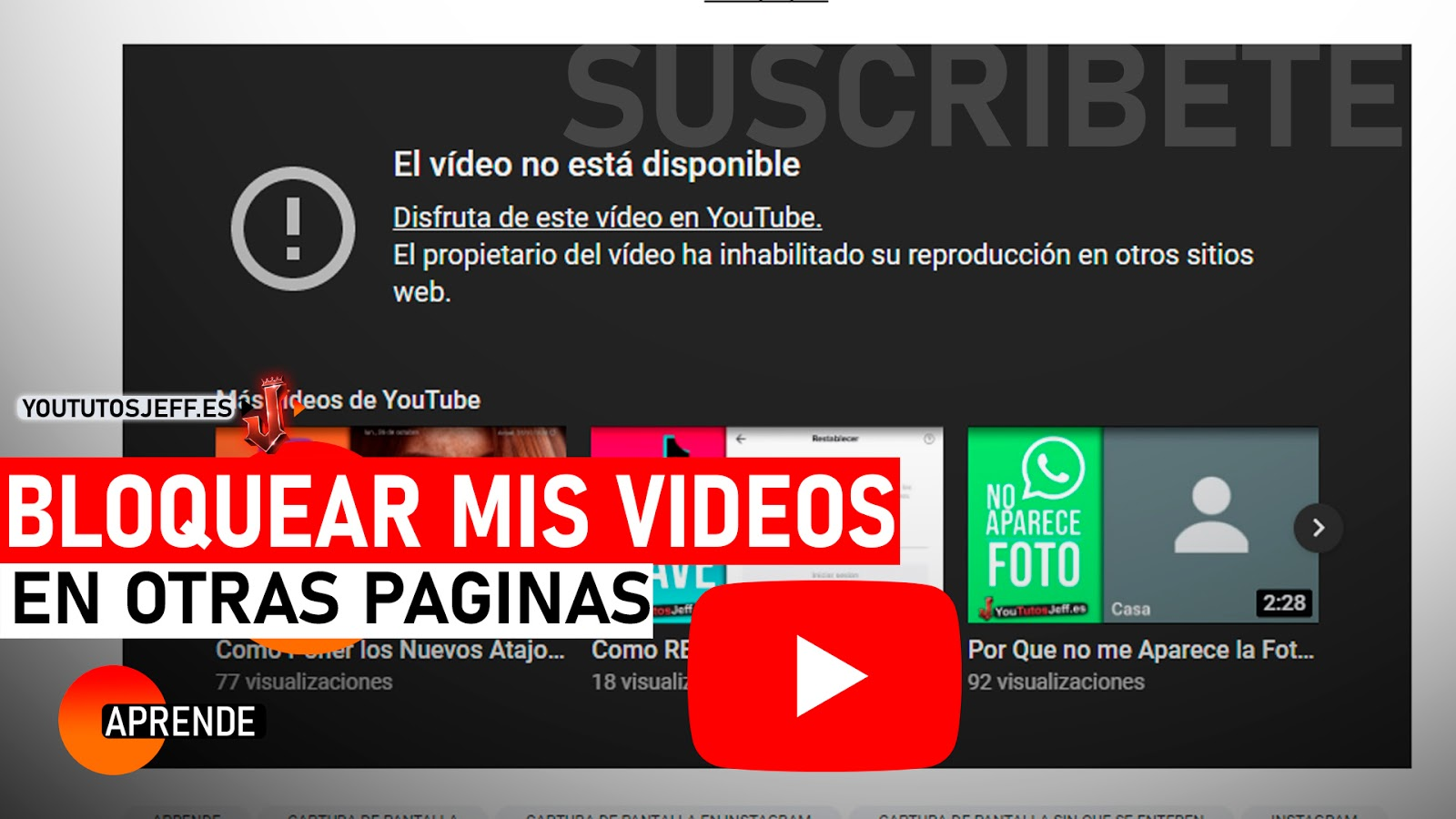 Evitar que Pongan Tus Videos de Youtube en Paginas Web