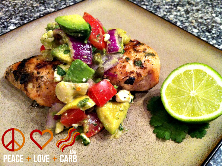 Chili-Lime Rubbed Chicken with Avocado-Feta Salsa | Peace Love and Low ...