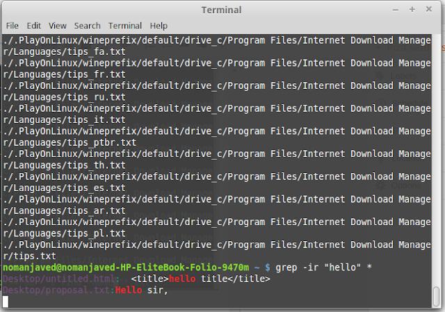 text search using the Linux / Unix / Ubuntu terminal
