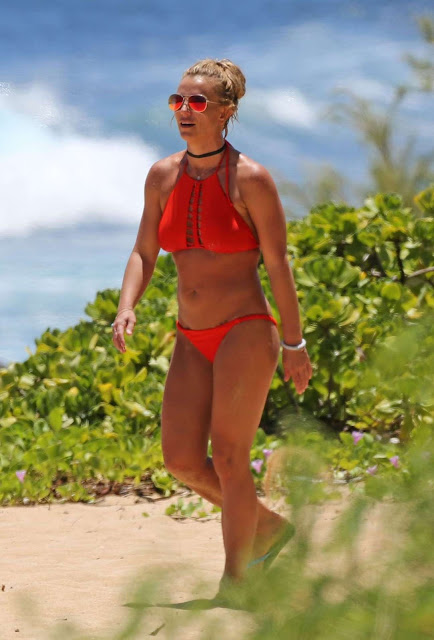 Britney Spears in Red Bikini at a beach in Hawaii