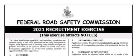 Road Safety Recruitment (FRSC) 2021