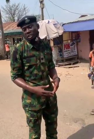 Video Of Nigerian Soldier Advising Youths Against Looting Food Items Meant For NYSC Corp Members (Video )
