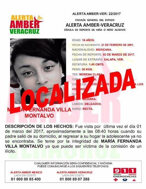 Desactivan Alerta Amber para Maria Fernanda Villa Montalvo en Xalapa Veracruz