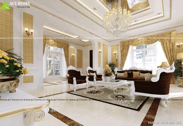 Phòng khách cổ điển nội thất sang trọng