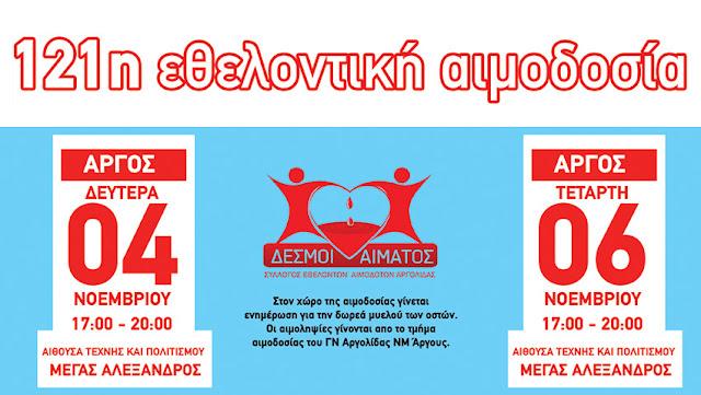 121η τακτική εθελοντική αιμοδοσία στο Άργος