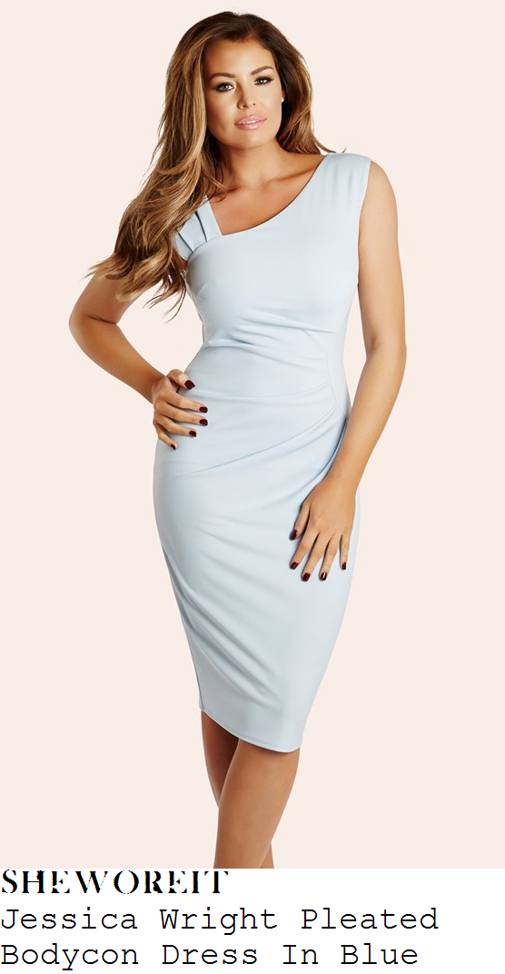 jessica-wright-light-blue-asymmetric-ruched-pleated-bodycon-dress
