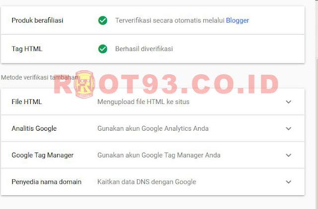 Google Search Console berhasil diverifikasi