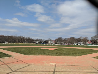 a sunny day on the large baseball diamond at Fletcher Field