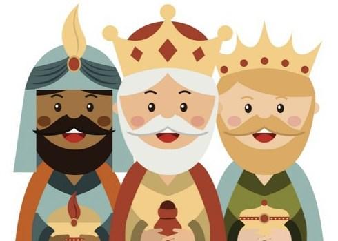 Los tres reyes magos de oriente con sus regalos